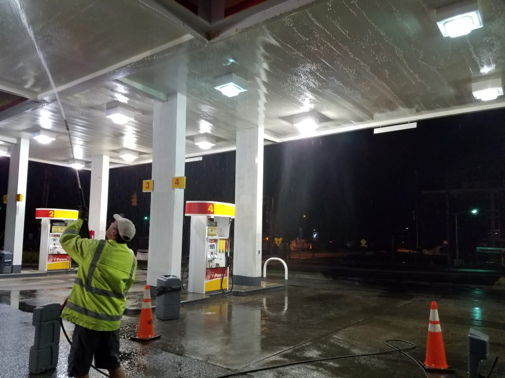 Gas Station Roof Cleaning